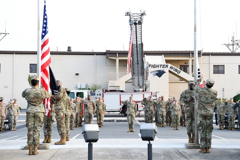 Members of the 8th Fighter Wing Honor Guard raise the American flag with the prisoners of war and missing in action flag as well as the Republic of Korea flag during the POW/MIA opening ceremony at Kunsan Air Base, Republic of Korea, Sept. 16, 2019. The 8th Fighter Wing hosted events during the week of Sept. 16 to 20, finishing with a retreat ceremony on National POW/MIA Day, Sept. 20. (U.S. Air Force photo by Staff Sgt. Joshua Edwards)