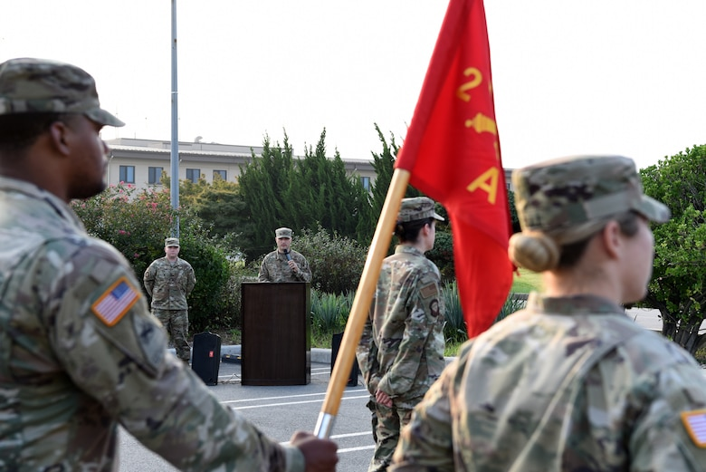 U.S. Air Force Col. Lawrence Sullivan, 8th Fighter Wing vice commander, speaks during the prisoners of war and missing in action opening ceremony at Kunsan Air Base, Republic of Korea, Sept. 16, 2019. The ceremony was the first event in a weeklong remembrance of Airmen, Soldiers, Sailors and Marines who were lost or captured throughout U.S. history. (U.S. Air Force photo by Staff Sgt. Joshua Edwards)