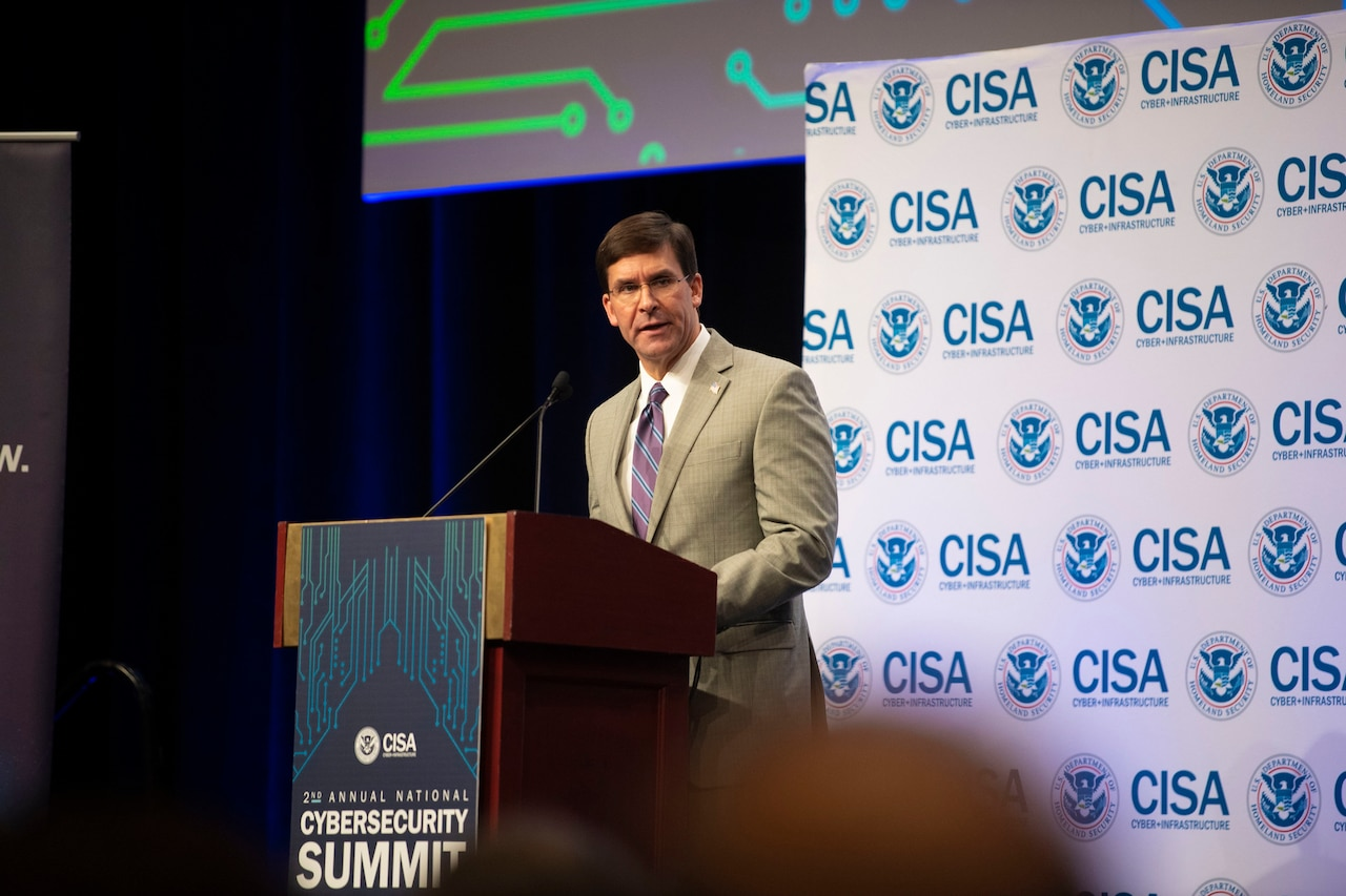 Defense Secretary Dr. Mark T. Esper speaks to an audience.