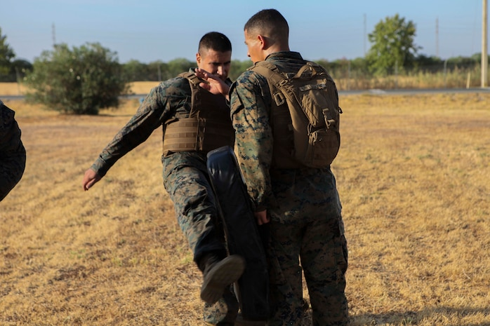 A U.S. Marine with Special Purpose Marine Air-Ground Task Force-Crisis Response-Africa 19.2, Marine Forces Europe and Africa, rehearses striking techniques during Marine Corps Martial Arts Instructor Course at Moron Air Base, Spain, Sept. 5, 2019. MAIC is a knowledge-driven course that teaches proper Marine Corps Martial Arts Program techniques and builds the ethical warrior mindset. SPMAGTF-CR-AF is deployed to conduct crisis-response and theater-security operations in Africa and promote regional stability by conducting military-to-military training exercises throughout Europe and Africa. (U.S. Marine Corps photo by Capt. Clay Groover)