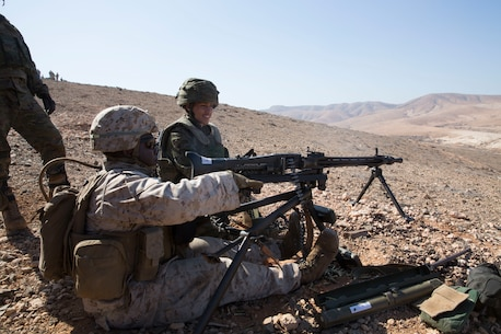 A U.S. Marine with Special Purpose Marine Air-Ground Task Force-Crisis Response-Africa 19.2, Marine Forces Europe and Africa, fires a MG42 machine gun during a machine gun range on Fuerteventura, Canary Islands, Spain, Sept. 9, 2019.The Marines conducted bilateral training with the Spanish army to enhance interoperability with Spanish allies. SPMAGTF-CR-AF is deployed to conduct crisis-response and theater-security operations in Africa and promote regional stability by conducting military-to-military training exercises throughout Europe and Africa. (U.S. Marine Corps photo by Staff Sgt. Mark E. Morrow Jr)