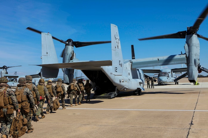 U.S. Marines with Special Purpose Marine Air-Ground Task Force-Crisis Response-Africa 19.2, Marine Forces Europe and Africa, board a U.S. Marine Corps MV-22B Osprey at Moron Air Base, Spain, during a tactical recovery of aircraft and personnel exercise, Sept. 10, 2019. TRAP is a core function of a crisis-response force and SPMAGTF-CR-AF 19.2 consistently trains to increase TRAP proficiency by rehearsing realistic scenarios. SPMAGTF-CR-AF is deployed to conduct crisis-response and theater-security operations in Africa and promote regional stability by conducting military-to-military training exercises throughout Europe and Africa. (U.S. Marine Corps photo by Capt. Clay Groover)