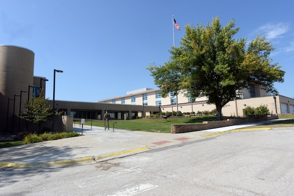 The front of the Ehrling Bergquist Medical Clinic at Offutt Air Force Base, Nebraska.