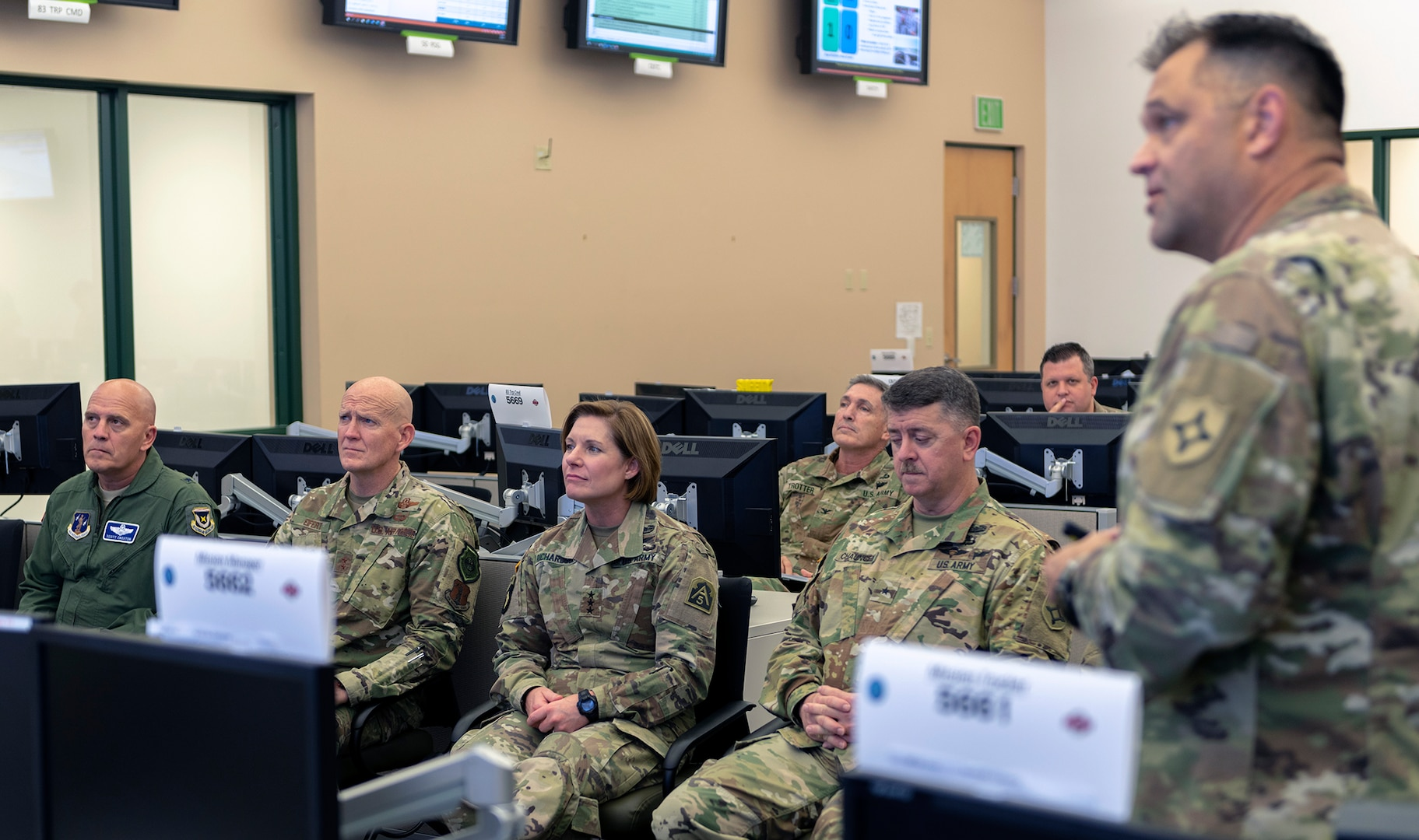 Lt. Gen. Laura Richardson, commander, U.S. Army North, tours the Florida National Guard's Joint Operations Center Sept. 5. She received an update on the Florida Guard response from Col. Mike Ladd, Joint Task Force Director of Operations, and Maj. Gen. Jim Eifert, the Adjutant General of Florida at Camp Blanding, Florida.