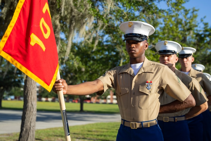 """MARINE CORPS RECRUIT DEPOT PARRIS ISLAND, S.C. – A native of Hampton, Georgia, graduated from Marine Corps recruit training here as platoon honor graduate of Platoon 1072, Company D, 1st Recruit Training Battalion, September 20, 2019.  Pfc. Devon J. Thorpe earned this distinction over 13 weeks of training by outperforming 81 other recruits during a series of training events designed to test recruits' basic Marine Corps skills. These training events covered customs and courtesies, drill and ceremonies, marksmanship, physical fitness, military history, and a variety of other subjects. """"My favorite part of recruit training is the tactical training that was taught,"""" said Thorpe. After enjoying the 10 days of leave allotted to graduates of recruit training, Thorpe will continue to build foundational Marine Corps skills at the School of Infantry, Camp Geiger, North Carolina."""