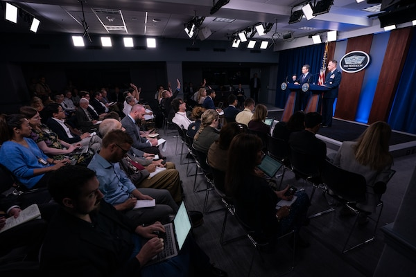 Assistant to the Secretary of Defense for Public Affairs Jonathan R. Hoffman and Joint Staff Spokesperson Air Force Col. Patrick S. Ryder hold a press briefing at the Pentagon, Washington, D.C., Sept. 19, 2019.