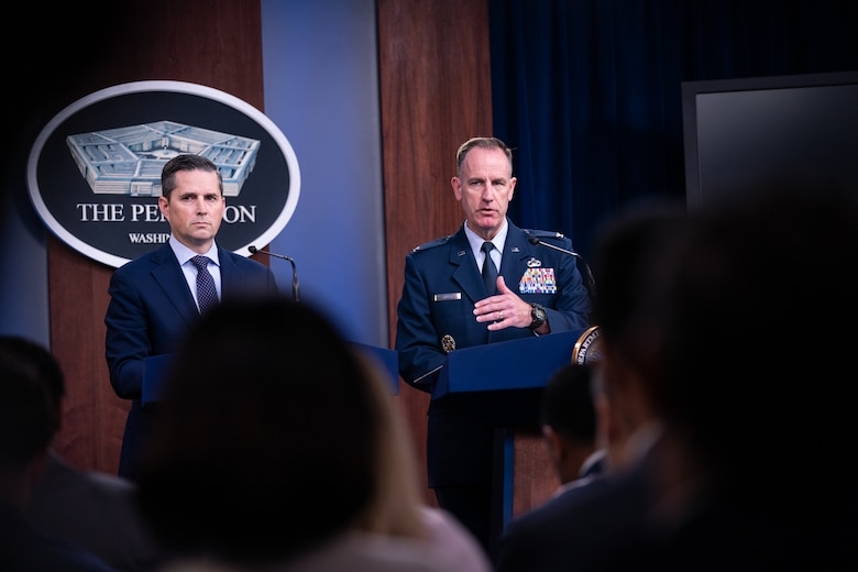 Joint Staff Spokesperson Air Force Col. Patrick S. Ryder addresses the media during a press briefing at the Pentagon, Washington, D.C., Sept. 19, 2019.