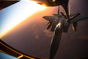 An F-15C Eagle receives fuel from a KC-135 Stratotanker