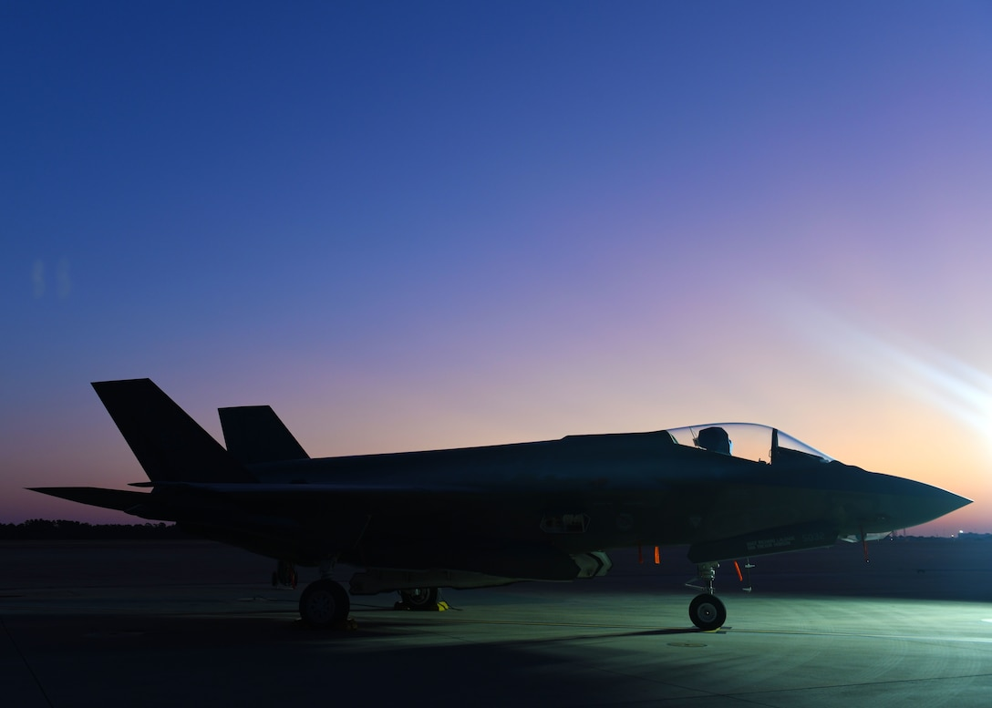 F-35A Lightning II sits on the flightline