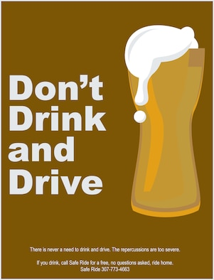 The drunk driving graphic is part of a larger driving safety campaign Sept. 16, 2019, on F.E. Warren Air Force Base, Wyo., to raise awareness of good driving practices and lower safety concerns on base. (U.S. Air Force graphic by Senior Airman Abbigayle Williams)