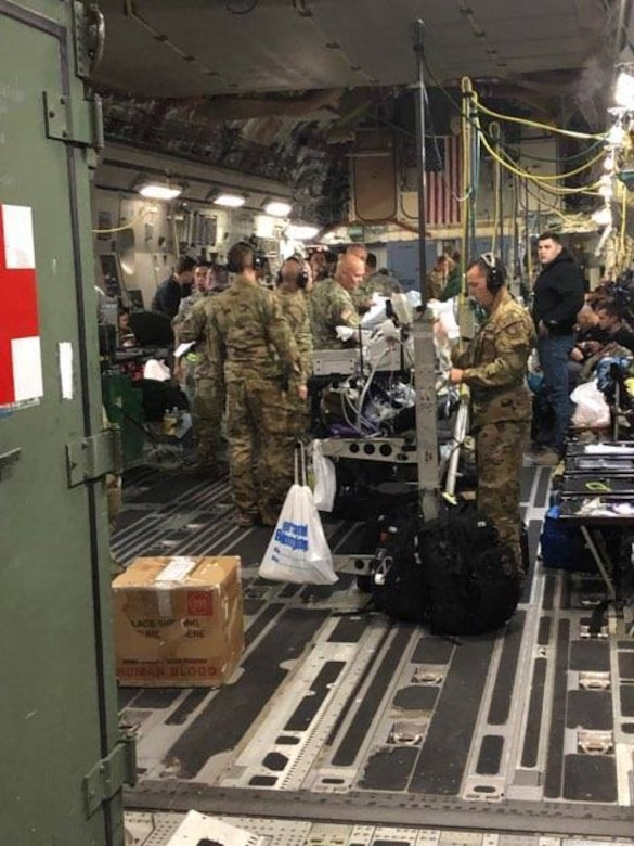 The C-17 Aircrew from the 145th Airlift Wing in Charlotte North Carolina participate in the Aeromedical Evacuation Patient Distribution Channel; a mission that is constantly in force moving patients, and casualties of war inflicted wounds, in need of transport from one medical facility to another across the world, while at Andrews Air Force Base, Sept 2, 2019. This is the North Carolina Air National Guard's first real world C-17 mission since converting from the C-130 Hercules in 2017, the AE mission lasts for four months at a time with units swapping out after each rotation.