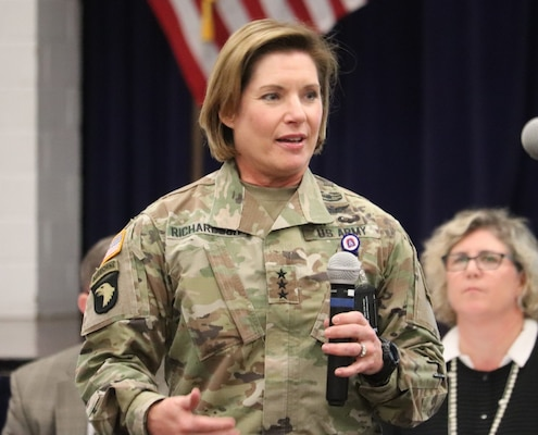 Lt. Gen. Laura Richardson, senior Army commander for Joint Base San Antonio-Fort Sam Houston and JBSA-Camp Bullis, introduces herself to residents during a housing town hall held Sept. 18. Richardson asked the group to continue to provide feedback on improvements needed so that she and other leaders can ensure residents enjoy a high quality of life.