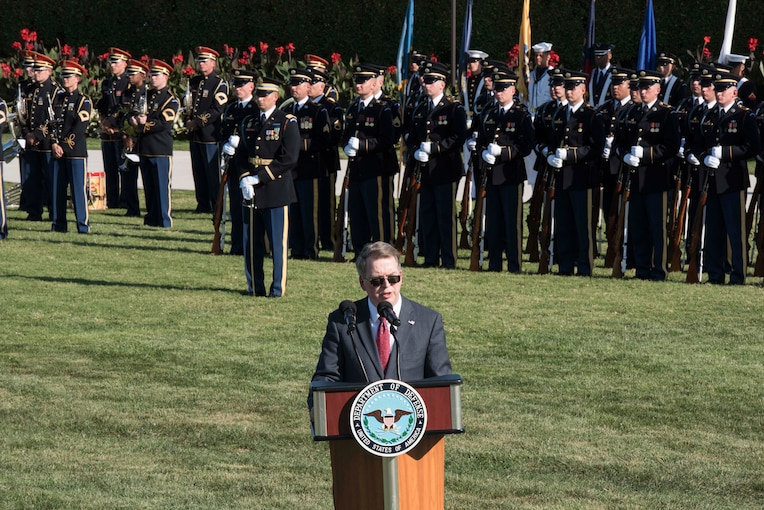 Deputy Defense Secretary David L. Norquist, hosts the annual National POW/MIA Recognition Day ceremony at the Pentagon, Sept. 20, 2019.