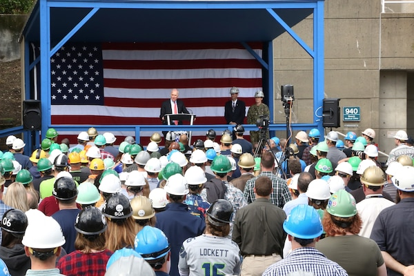 Secretary of the Navy Richard V. Spencer addressed members of the Puget Sound Naval Shipyard & Intermediate Maintenance Facility workforce Sept. 20, 2019, in Bremerton, Wash., before touring key projects and facilities during his hour-and-45-minute visit to the shipyard.