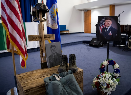 A memorial service for Staff Sgt. Adam Erickson was held at Chapel 1 on Edwards Air Force Base, California, Sept. 20. (U.S. Air Force photo by Christopher Dyer)