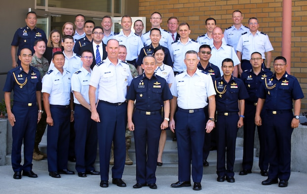 Pacific Air Forces, Washington National Guard and Royal Thai Air Forces airmen participate in the sixth RTAF-PACAF Airman-to-Airman talks at Camp Murray, Wash., Aug. 28, 2019. A2A talks are jointly held conferences between PACAF and regional partner air forces designed to bring together both air forces to discuss and improve on training, tactics and procedures. This year marked the first talks to include participation by the Washington National Guard, with Washington state as the state partner to Thailand since 2002. (U.S. National Guard photo by Joseph Siemandel)