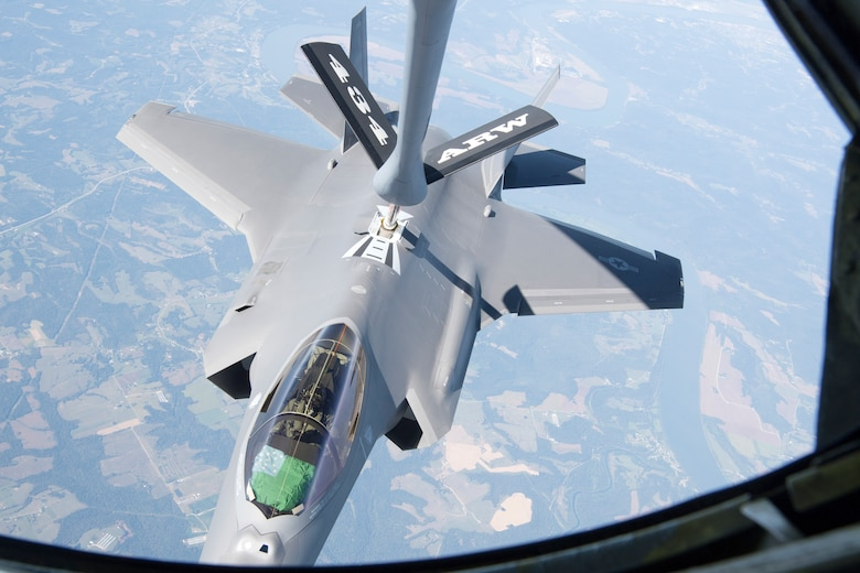 With only four hours of flight on its clock, an F-35 Lightning II from the 158th Fighter Wing out of the Vermont Air National Guard Base, South Burlington, Vt., receives fuel from a 434th Air Refueling Wing KC-135 Stratotanker from Grissom Air Reserve Base, Ind., over the Midwest Sept. 19, 2019. The 158th FW is the first Air National Guard unit to receive the aircraft, and will be the second operational F-35 wing in the U.S. Air Force, and will receive a total of 20 over the following months. (U.S. Air Force photo/Master Sgt. Ben Mota)