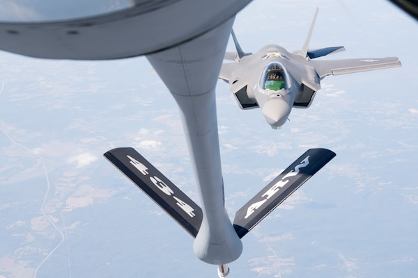 An F-35 Lightning II from the 158th Fighter Wing out of the Vermont Air National Guard Base, South Burlington, Vt., pulls up to a 434th Air Refueling Wing KC-135 Stratotanker from Grissom Air Reserve Base, Ind., for fuel over the Midwest Sept. 19, 2019. The 158th FW is the first Air National Guard unit to receive the aircraft, and will be the second operational F-35 wing in the U.S. Air Force. (U.S. Air Force photo/Master Sgt. Ben Mota)