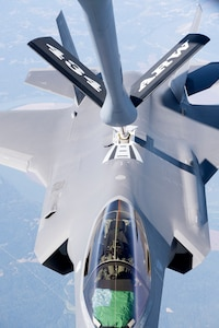 An F-35 Lightning II from the 158th Fighter Wing out of the Vermont Air National Guard Base, South Burlington, Vt., receives fuel from a 434th Air Refueling Wing KC-135 Stratotanker from Grissom Air Reserve Base, Ind., over the Midwest Sept. 19, 2019. The 158th FW is the first Air National Guard unit to receive the aircraft, and will be the second operational F-35 wing in the U.S. Air Force. (U.S. Air Force photo/Master Sgt. Ben Mota)
