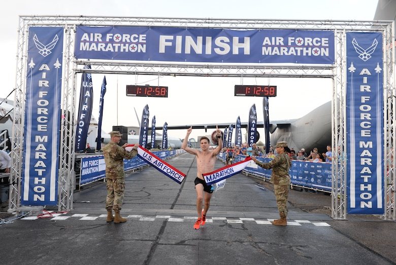 Jason Salyer of Columbus won the Men's Half Marathon with a time of 1:12:56. (U.S. Air Force photo/Wesley Farnsworth)