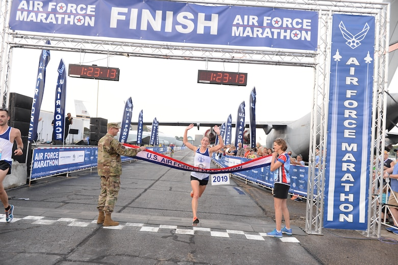 Emily Shertzer, Jonestown, Pennsylvania, takes the Women's Half Marathon at 1:23:10 for the fourth year in a row. (U.S. Air Force photo/Wesley Farnsworth)