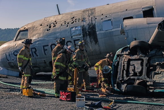 Firefighters from the 193rd Special Operations Civil Engineering Squadron worked with local EMTs, firefighters and police during a large-scale exercise September 21, 2019, at Harrisburg International Airport in Middletown, Pennsylvania.