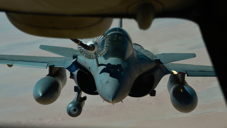A French Air Force Dassault Rafale receives fuel from a U.S. Air Force KC-10 Extender assigned to the 908th Expeditionary Air Refueling Squadron out of Al Dhafra Air Base, United Arab Emirates, Aug. 28, 2019. Assets under U.S. Air Forces Central Command maintain a constant partnership with regional air forces to augment and perfect capabilities while striving for operational harmony. (U.S. Air Force photo by Staff Sgt. Chris Drzazgowski)