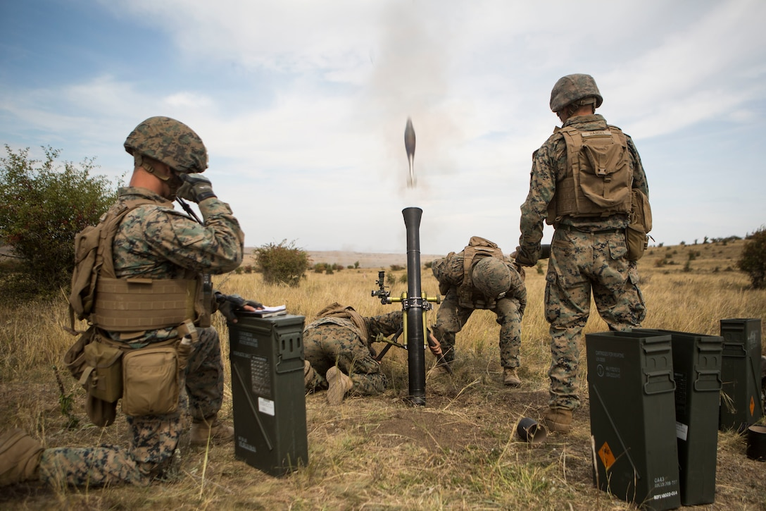 Marines fire an M252 81 mm mortar system during exercise Platinum Eagle in Babadag Training Area, Romania, Sept. 17.
