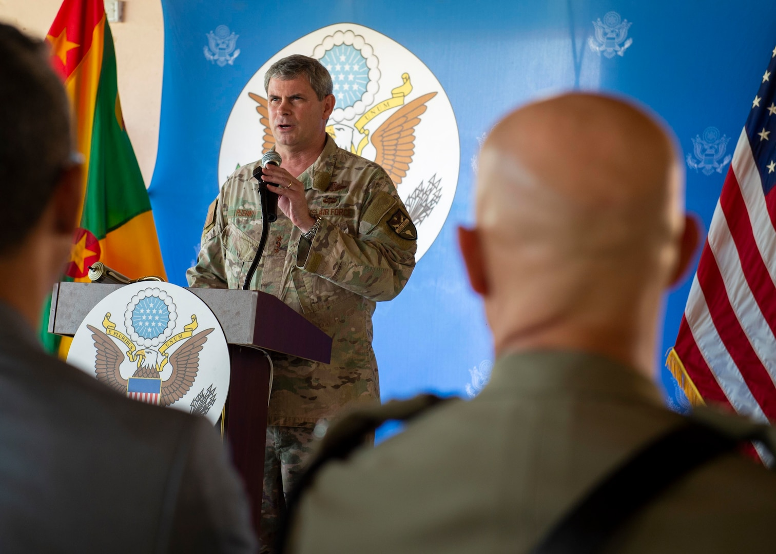 Lt. Gen. Michael T. Plehn speaks during the closing ceremony for the hospital ship USNS Comfort's eight-day medical mission in Grenada.