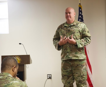District of Columbia National Guard's Command Sergeant Major Michael R. Brooks discusses his struggles in life during the DCNG's Suicide Prevention Awareness Month event Sept. 18. He encouraged the DCNG to really listen to people who need to talk about life's challenges.