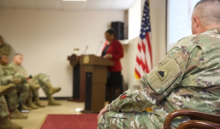During the District of Columbia National Guard's Suicide Prevention Awareness Month event, guest speaker Dr. Donna H. Barnes PhD Principal Investigator and Project Director Department of Psychiatry at Howard University, discussed understanding the suicidal mind is critical to changing the way the mind thinks suicidal thoughts. Four factors, that when aligned right, can directly result in suicide, said Barnes. These factors are impulse, vulnerability, lethalness and fearlessness.