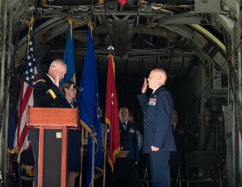 U.S. Air Force Brig. Gen. Daniel Gabrielli recites the oath of office in St. Paul, Minn., Sept. 14, 2019.