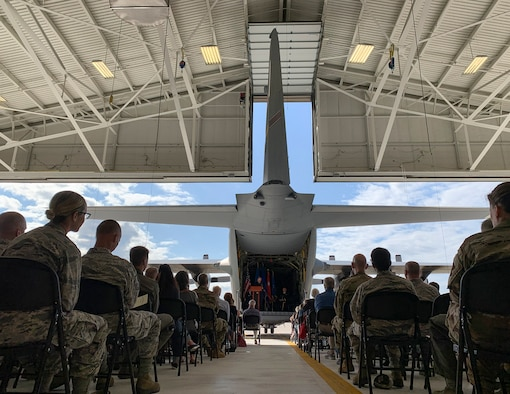 U.S. Air Force Brig. Gen. Daniel Gabrielli speaks to Airmen, family, and friends after being promoted in St. Paul, Minn., Sept. 14, 2019.