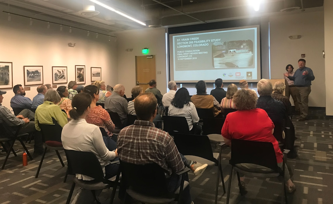 The Omaha District, in cooperation with the City of Longmont, held a public meeting on September 18, 2019 to seek input on the recommended plan to reduce flood risk along the St. Vrain Creek in Longmont, Colorado.