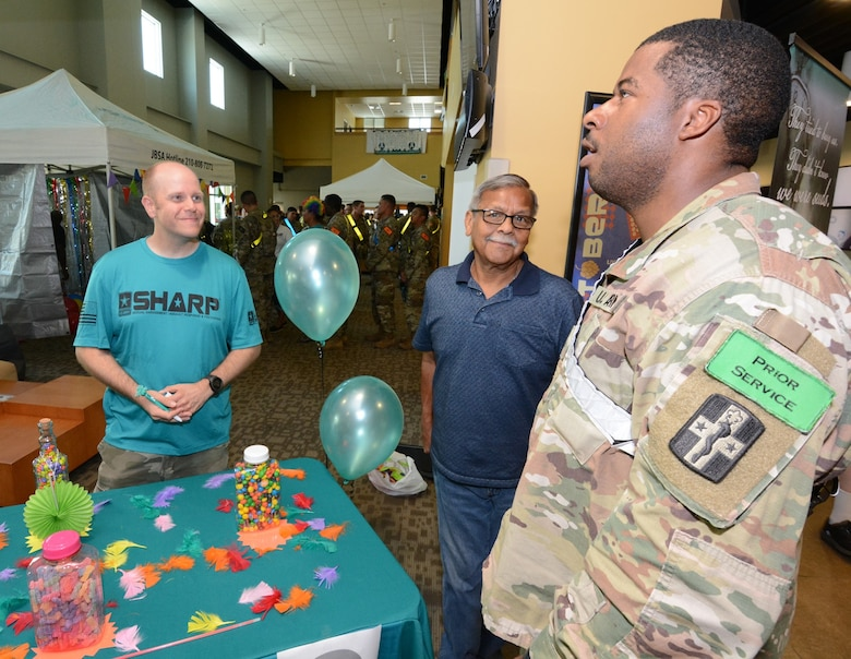 Looking up to jog his memory, a Soldier answers a question on the Army SHARP program.