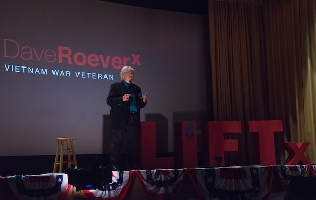 David Roever, a Purple Heart recipient and a U.S. Navy Vietnam War veteran, shares his personal story of perseverance at the Leaders Inspiring for Tomorrow seminar at MacDill Air Force Base, Fla., Sept. 23, 2019.