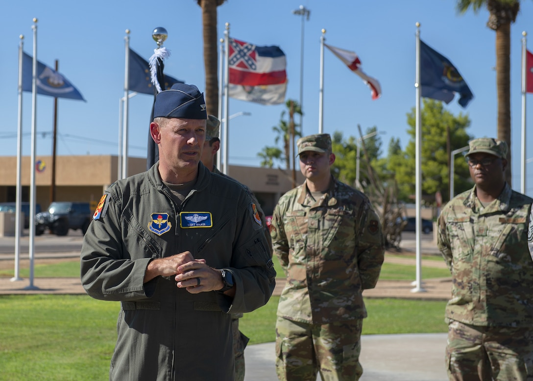 Col. Scott Walker, 56th Fighter Wing vice commander, addresses the audience at the annual POW/MIA vigil run opening ceremony Sept. 19, 2019, at Luke Air Force Base, Ariz.