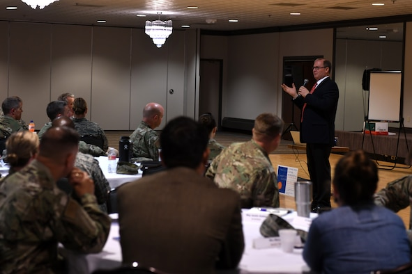 Michael Stallard, guest speaker during a Connection Culture workshop, speaks to the leadership from Peterson and Schriever Air Force Bases in Colorado about the importance of making connections in a unit Sept. 10, 2019, at Peterson AFB. Stallard said that he believes changing the culture of a group of people starts with the leadership. (U.S. Air Force photo by Airman 1st Class Andrew Bertain)