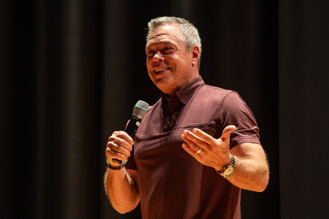 Bernie McGrenahan, a stand-up comedian, performs his show 'Comedy is the Cure' to Marines of 2nd Marine Logistics Group at Marine Corps Base Camp Lejeune, N.C., Sept. 19, 2019. 'Comedy for a Cure' is a show that uses comedy and personal life testimony to educate audiences on the dangers of substance abuse. (U.S. Marine Corps photo by Lance Cpl. Fatima Villatoro)