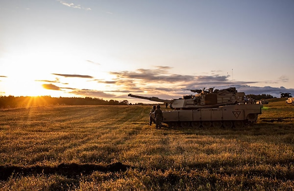 An M1 Abrams tank in the field at dawn during the Bull Run 10 exercise in Orzysz, Poland, Sept. 19, 2019.