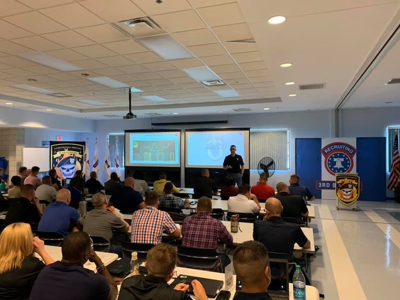 U.S. Army 3rd Recruiting Brigade Commander Col. Eric Lopez opens a three-day training forum with remarks and guidance to battalion and company leadership teams at US Army Reserve Aviation Command headquarters, Fort Knox, Kentucky, Sept. 20.