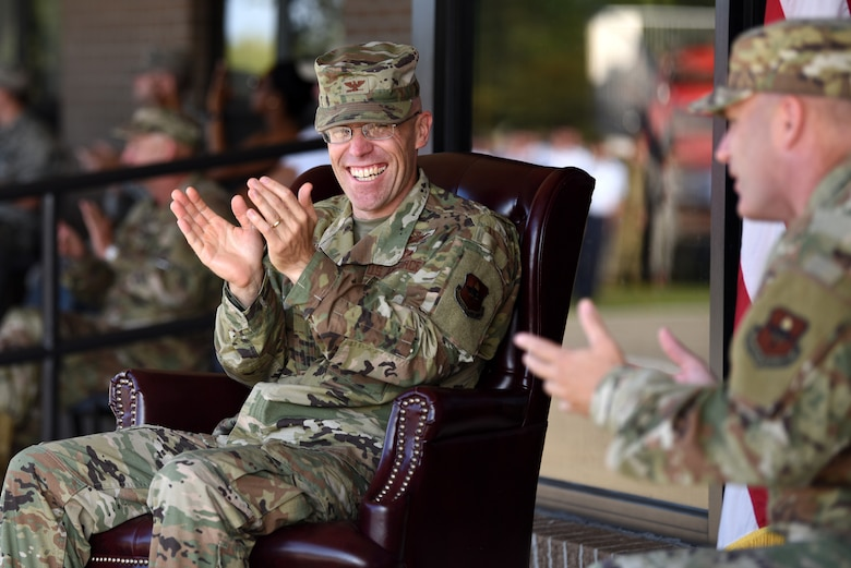 U.S. Air Force Col. Chance Geray, 81st Training Group commander, and Chief Master Sgt. Anthony Fisher, 81st TRG superintendent, applaud during the 81st TRG drill down on the Levitow Training Support Facility drill pad at Keesler Air Force Base, Mississippi, Sept. 20, 2019. Airmen from the 81st TRG competed in a quarterly open ranks inspection, regulation drill routine and freestyle drill routine. While in training, Airmen are given the opportunity to volunteer to learn and execute drill down routines. (U.S. Air Force photo by Airman Seth Haddix)