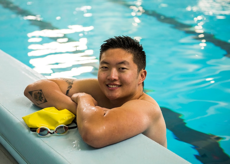 Airman 1st Class Micheal Yoo, 366th Maintenance Squadron, avionics backshop techinician, poses for a photo during his daily swim training September 18th, 2019, at Mountain Home Air Force Base, Idaho. Yoo is a competitor on the Air Force team in the world military games. (U.S. Air Force photo by Senior Airman Tyrell Hall)