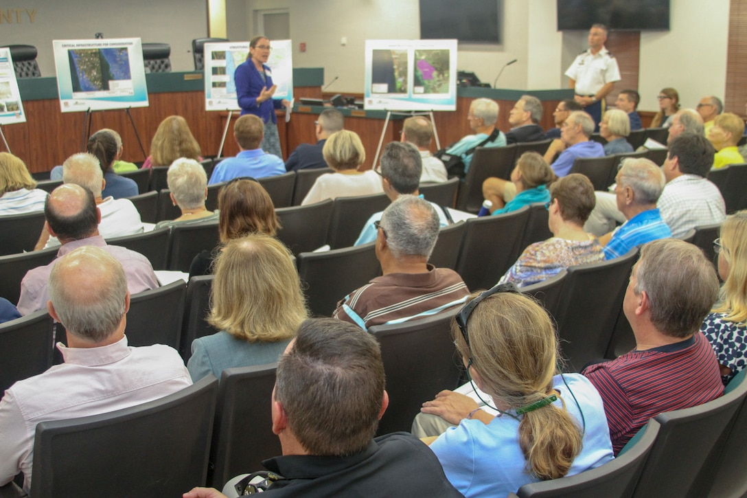 More than 100 people attend Collier County Coastal Storm Risk Management Feasibility Study public meeting in Naples, Florida, Sept. 9, 2019.