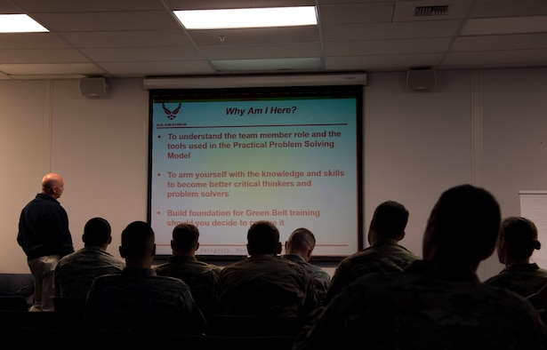 Bryan Dochnahl, 62nd Airlift Wing Manpower wing process manager, teaches the Practical Problem Solving Model class to 627th Logistics Readiness Squadron Airmen at Joint Base Lewis-McChord, Wash., Sept. 20, 2019. The class is a part of the Continuous Improvement Process, a wing program that is designed to reduce waste and improve processes in organizations. (U.S. Air Force photo by Senior Airman Tryphena Mayhugh)
