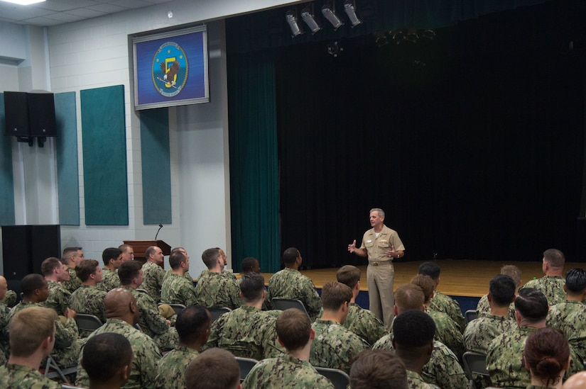 NAVAL SUPPORT ACTIVITY, Bahrain (September 19, 2019) Vice Adm. Richard Brown, commander, Naval Surface Forces (CNSF), addresses Sailors assigned to various commands in Bahrain, during an all-hands call. While in the region, Brown discussed efforts to build combat ready ships and battle-minded crews while preparing for the high-end fight. (U.S. Navy photo by Mass Communication Specialist 2nd Class Jordan Crouch)