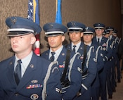 Joint Base Charleston honor guard members stand ready to present the colors and honor prisoners of war and missing in action at the Joint Base Charleston Air Force Ball, Sep. 14, 2019, in Charleston, S.C.
