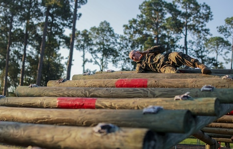Recruits with Fox Company, 2nd Recruit Training Battalion, negotiate obstacles at the Confidence Course on Marine Corps Recruit Depot Parris Island, S.C. Sept. 17, 2019. The Confidence Course is composed of various obstacles that both physically and mentally challenge recruits. (U.S. Marine Corps photo by Lance Cpl. Dylan Walters)