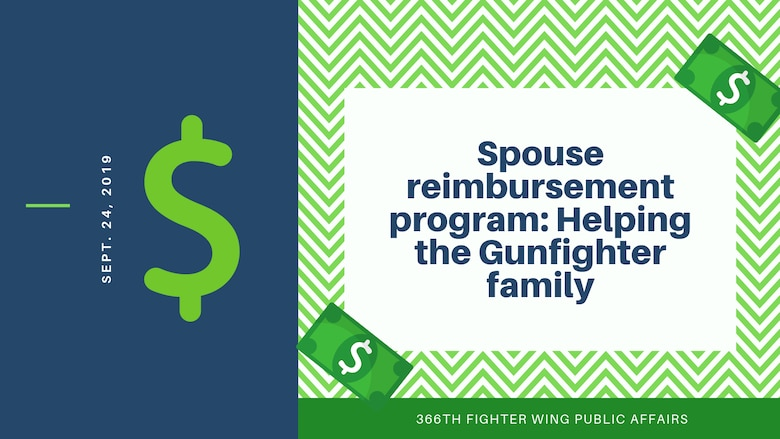 The spouse reimbursement program reimburses eligible spouses up to $500 for expenses incurred due to an eligible PCS/PCA for licenses and certifications they had to obtain due to moving to a different state that doesn't accept their current certifications/licenses. (U.S. Air Force graphic by Senior Airman JaNae Capuno)
