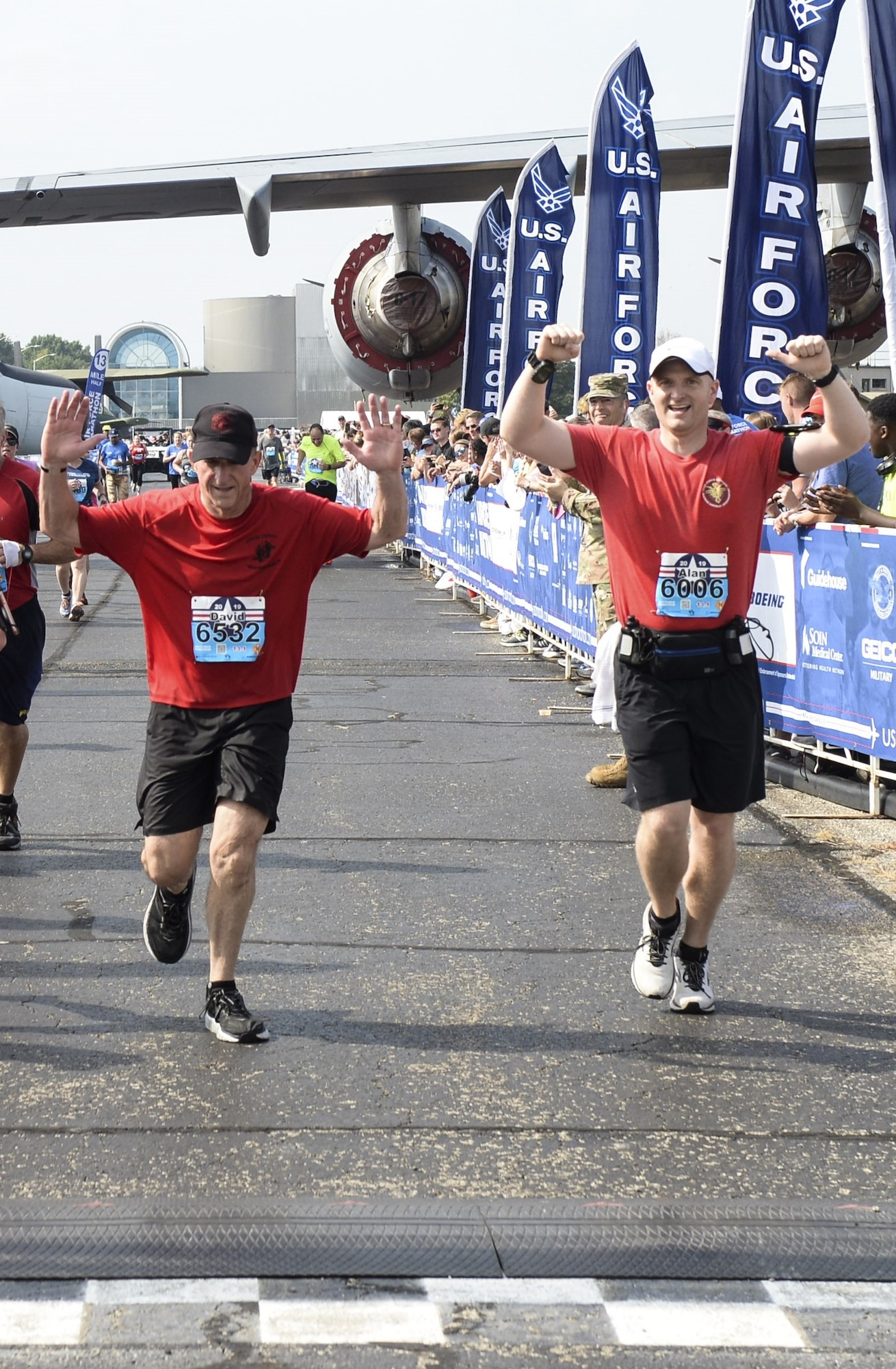 Air Force Chief of Staff Gen. David L. Goldfein crosses the finish line Saturday, Sept. 21, 2019 at the Air Force Half Marathon at Wright-Patterson AFB in Ohio. Goldfein ran the race to promote the importance of physical fitness for the Air Force. Like many other runners, Goldfein was also  running to honor specific airmen, in this case, Staff Sgt. Dylan Elchin a Special Tactics combat controller who was killed in Afghanistan in 2018. Goldfein wore a wristband with Elchin's name and a t-shirt from the Special Tactic memorial march held earlier this year. (U.S. Air Force photo by Wesley Farnsworth)